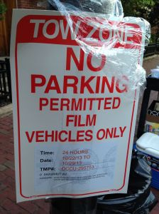 Sometimes parking is only allowed for film vehicles only.